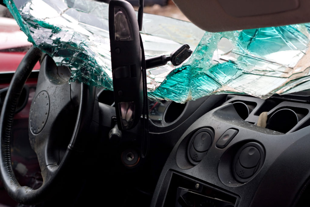 inside of car from accident